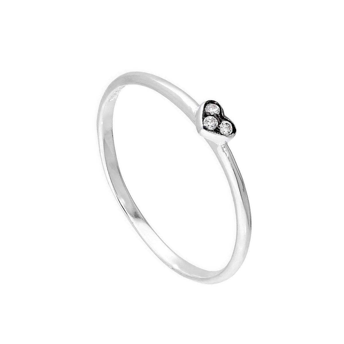 Sterling Silver & Clear CZ Crystal Heart Ring w Black Rhodium Size G - W