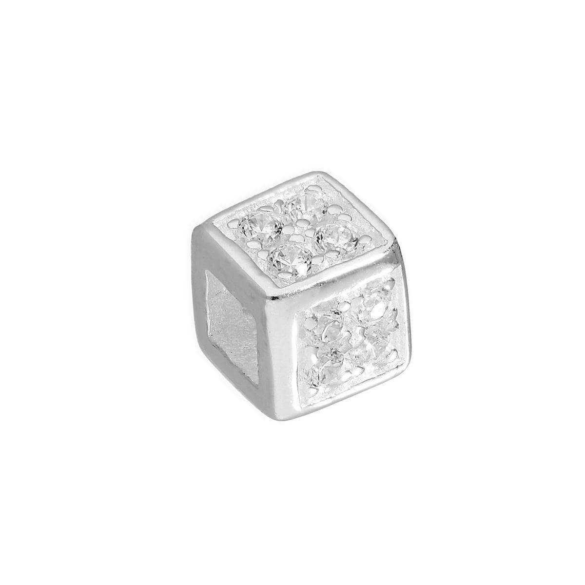Sterling Silver & Clear CZ Crystal Cube Bead Charm
