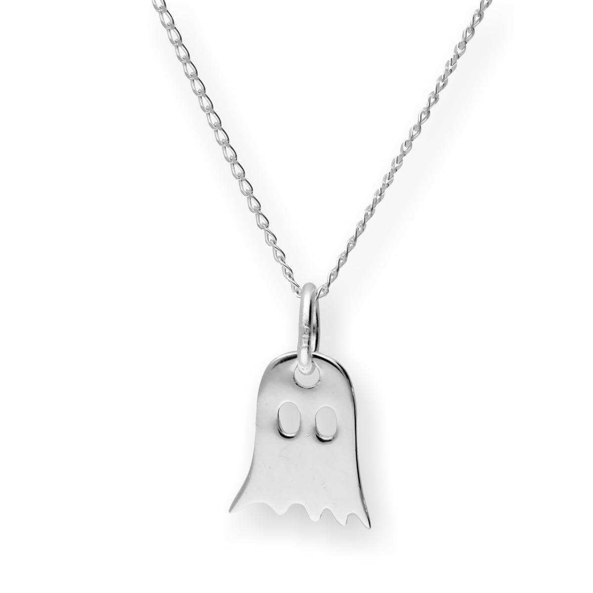 Sterling Silver Ghost Pendant Necklace 14 - 22 Inches