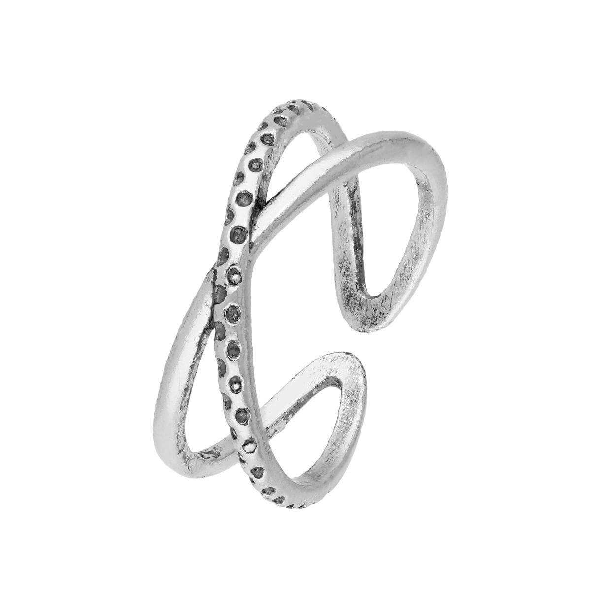Sterling Silver Criss Cross Patterned Toe Ring