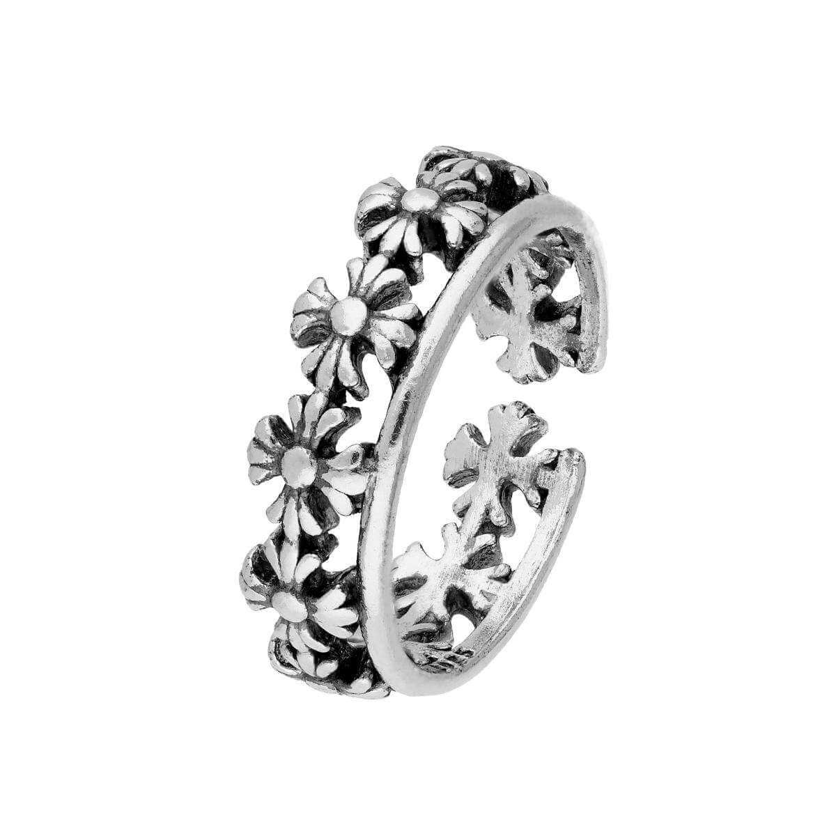 Sterling Silver Flowers Toe Ring