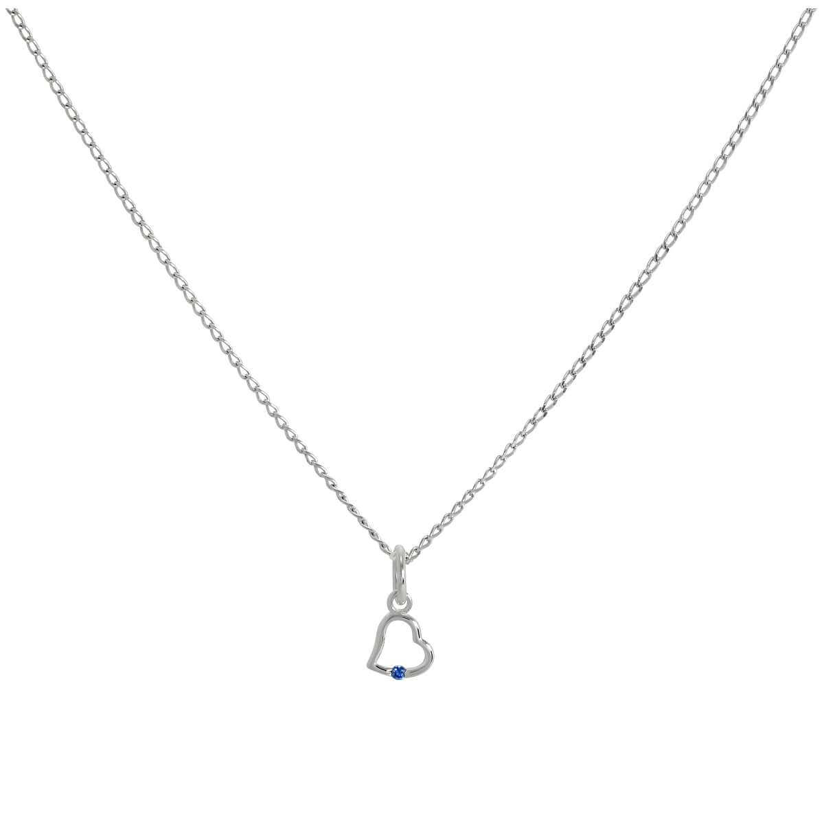 Sterling Silver & Sapphire CZ Crystal Heart Pendant Necklace 14 - 22 Inches