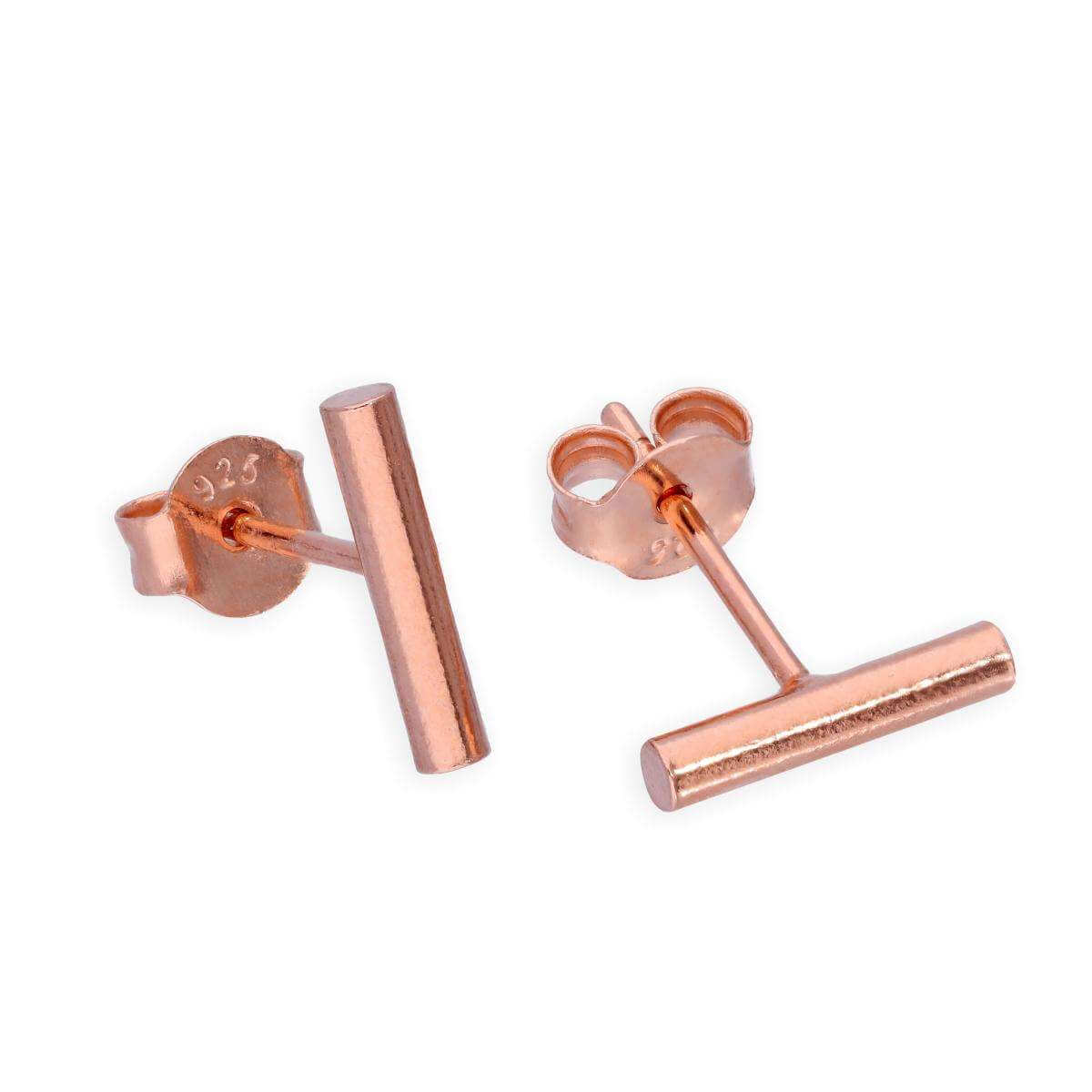 Rose Gold Dipped Sterling Silver Bar Stud Earrings