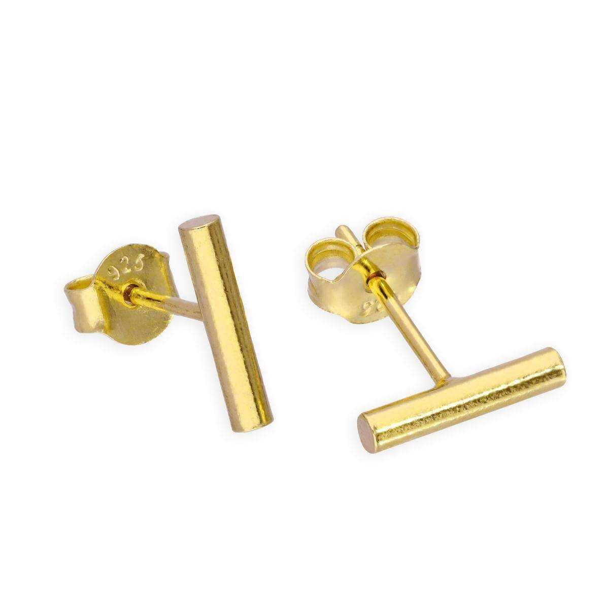 Gold Dipped Sterling Silver Bar Stud Earrings