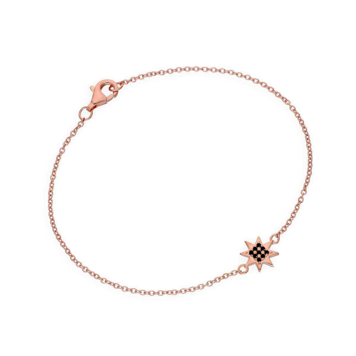 Rose Gold Plated Sterling Silver & Black CZ Crystal 7 Inch Star Bracelet