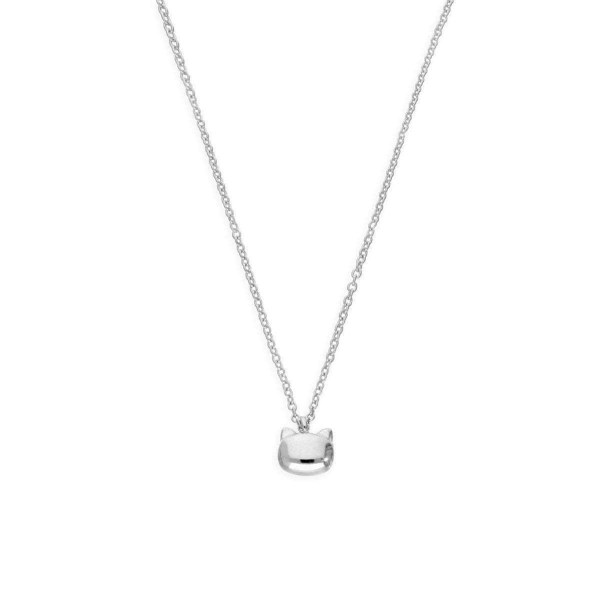 Sterling Silver Cats Head Necklace w 18 Inch Chain