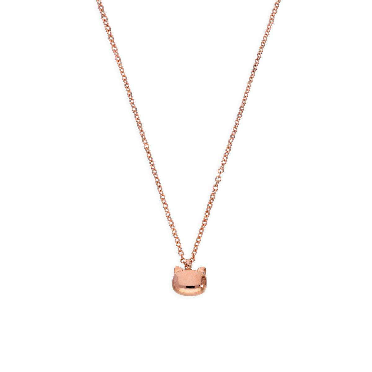 Rose Gold Plated Sterling Silver Cats Head Necklace w 18 Inch Chain