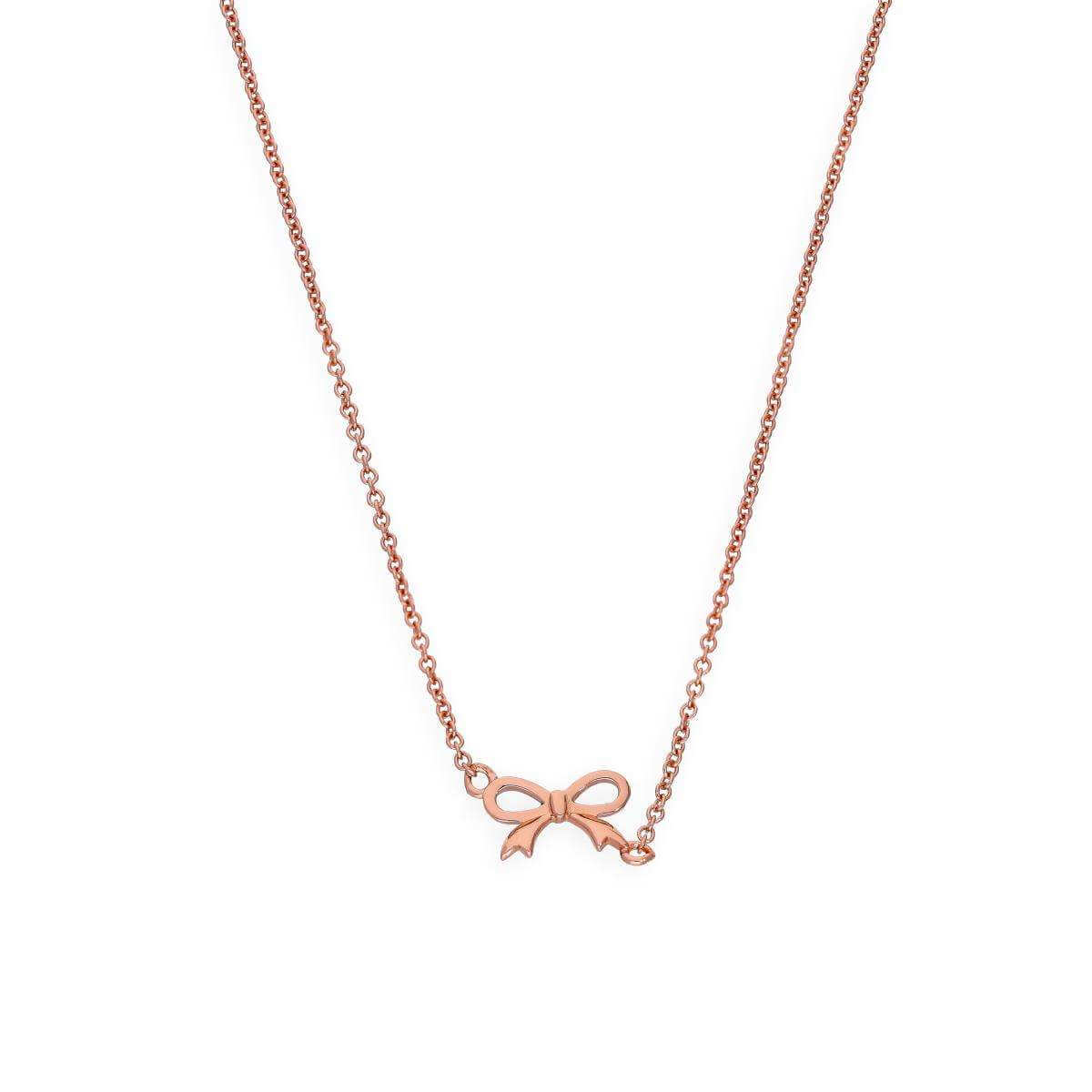 Rose Gold Plated Sterling Silver Ribbon Bow Necklace w 18 Inch Chain