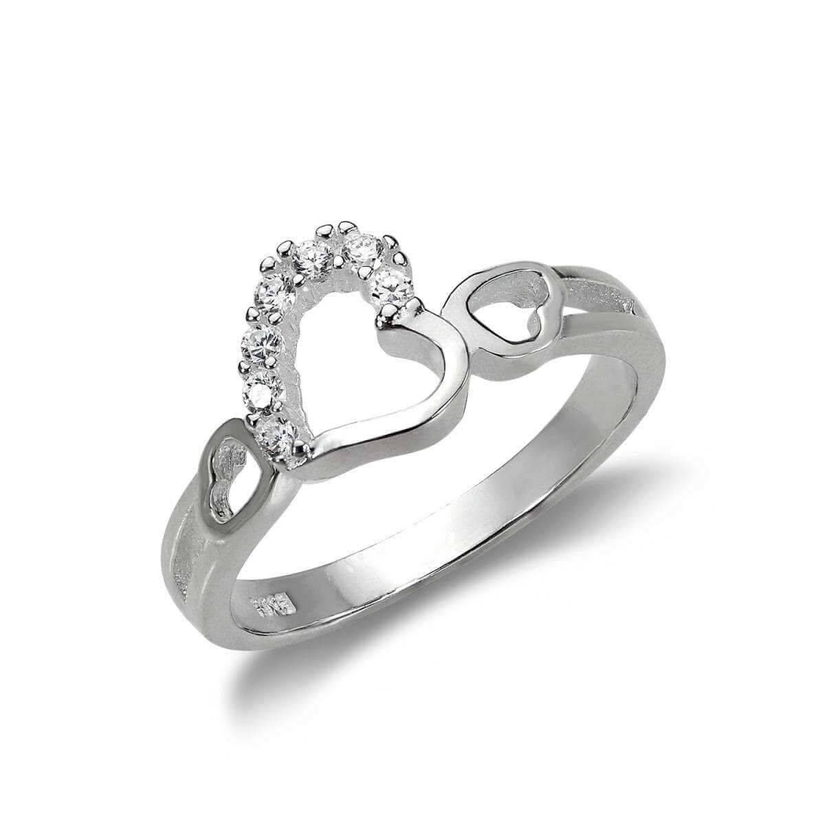Sterling Silver & CZ Crystal Interlocking Hearts Ring - UK Size I-V