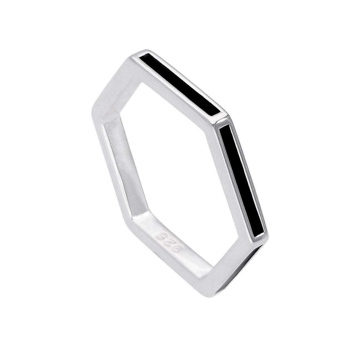 Sterling Silver & Black Enamel Hexagon Ring