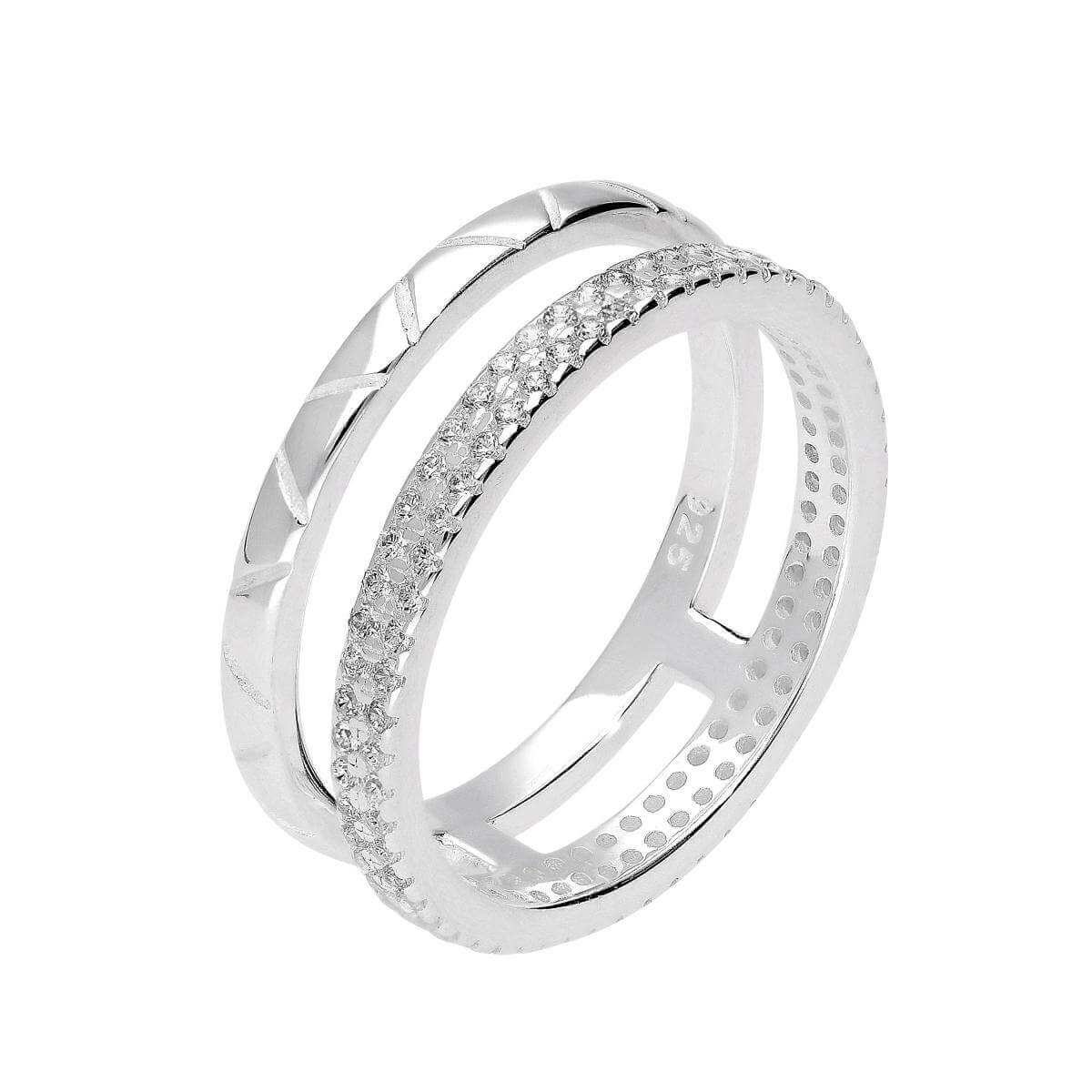 Sterling Silver & CZ Crystal Double Band Ring