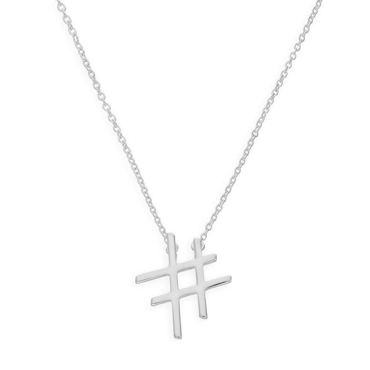 Sterling Silver Hashtag 18 Inch Necklace