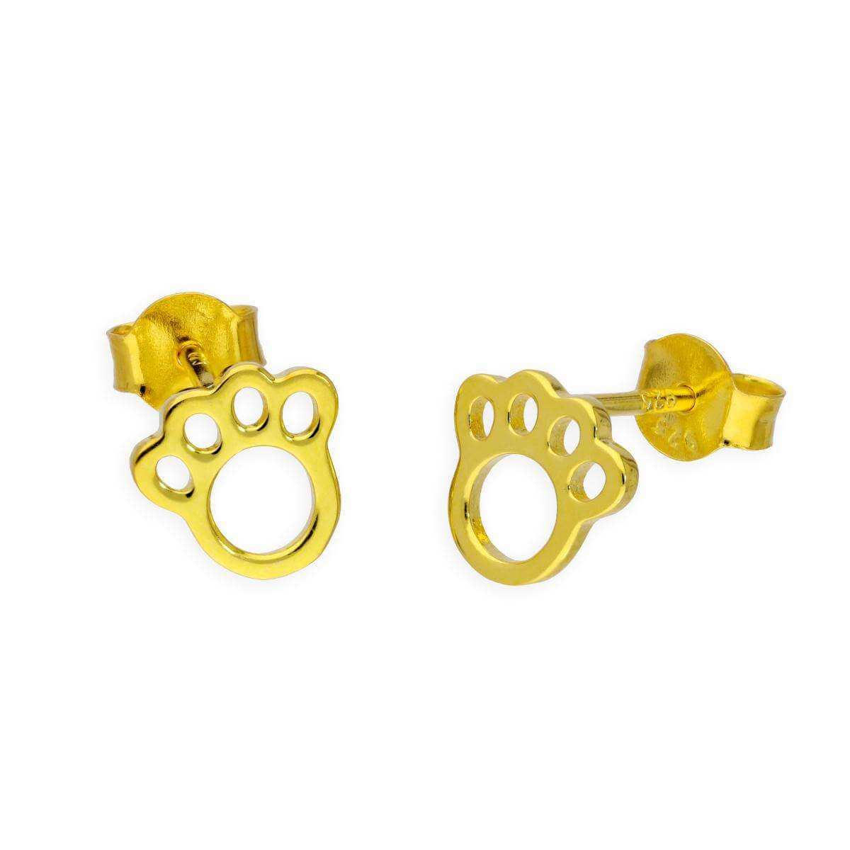 Gold Plated Sterling Silver Animal Pawprint Stud Earrings