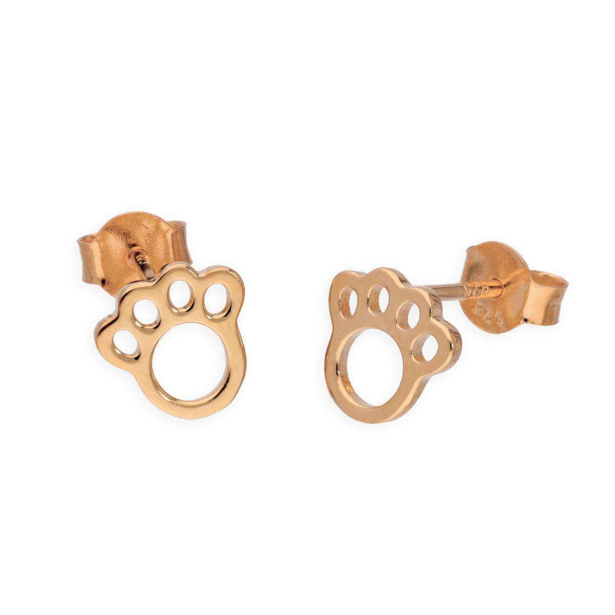 Rose Gold Plated Sterling Silver Animal Pawprint Stud Earrings