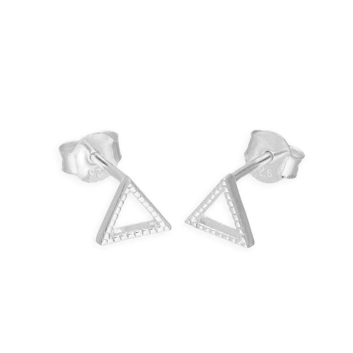 Sterling Silver Open Triangle Stud Earrings