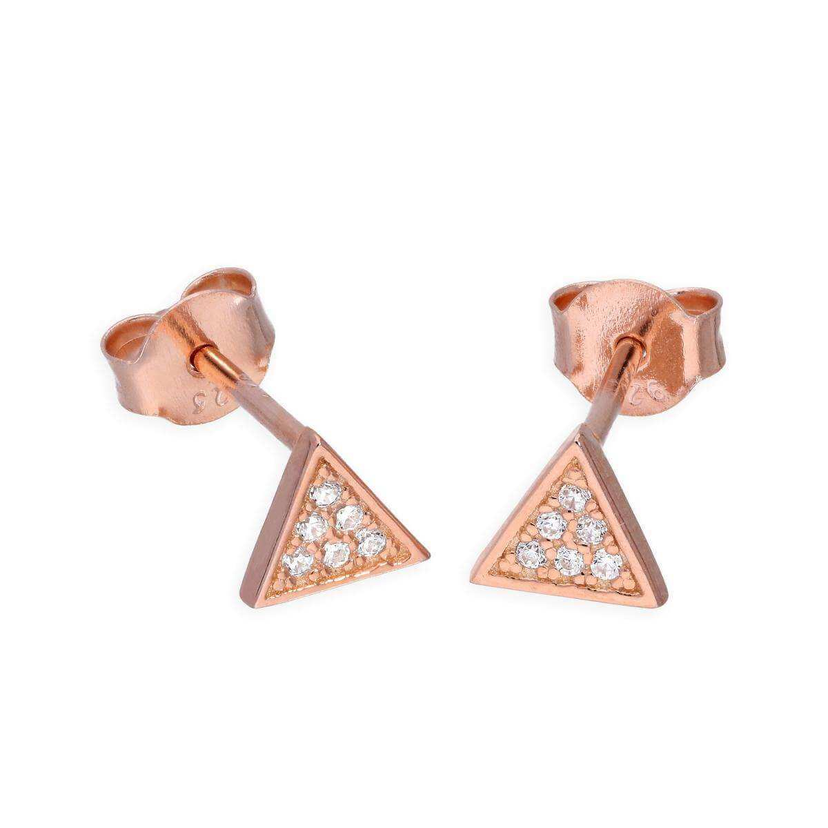Rose Gold Plated Sterling Silver & Clear CZ Crystal Triangle Stud Earrings