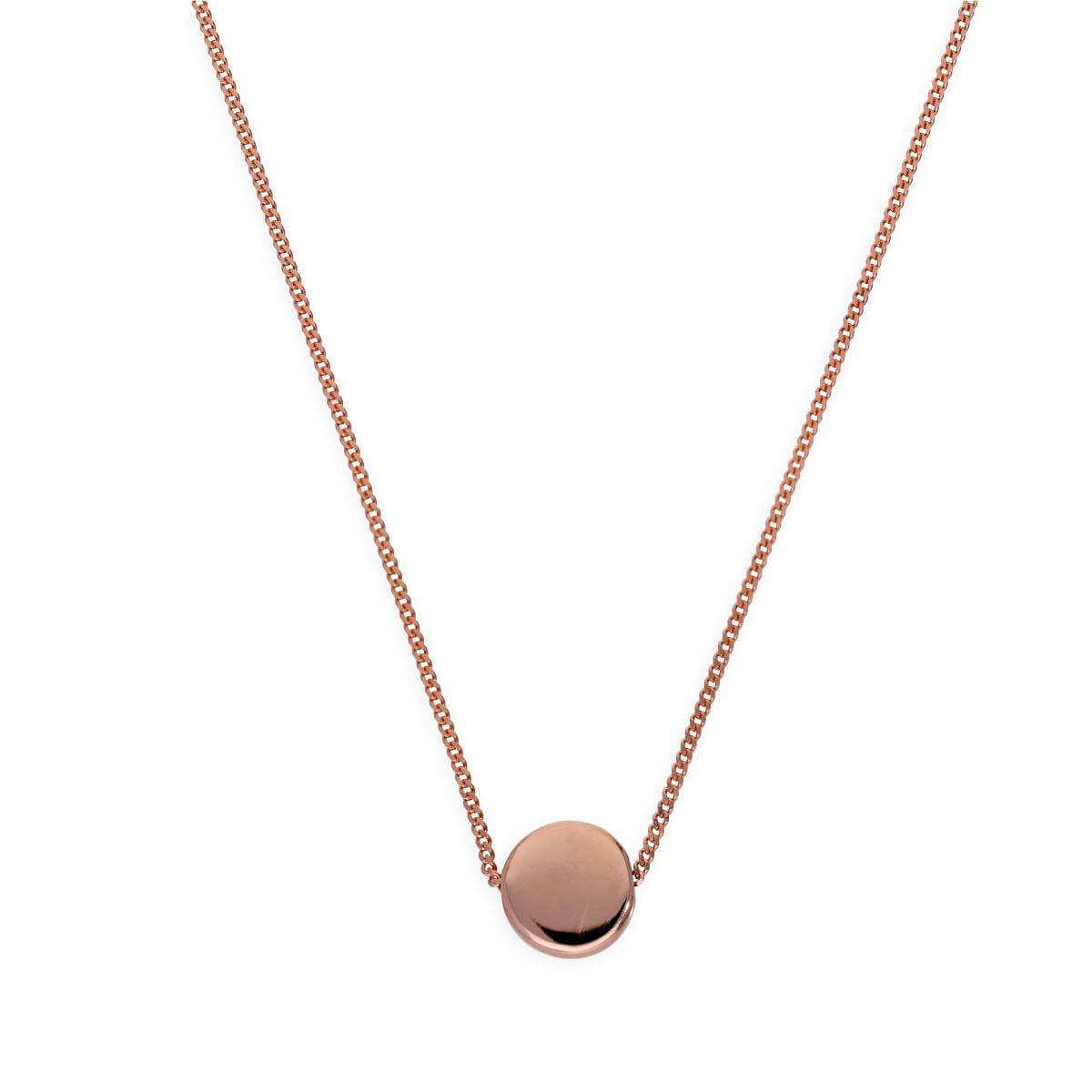 Rose Gold Dipped Sterling Silver Round Disc 16 Inch Necklace