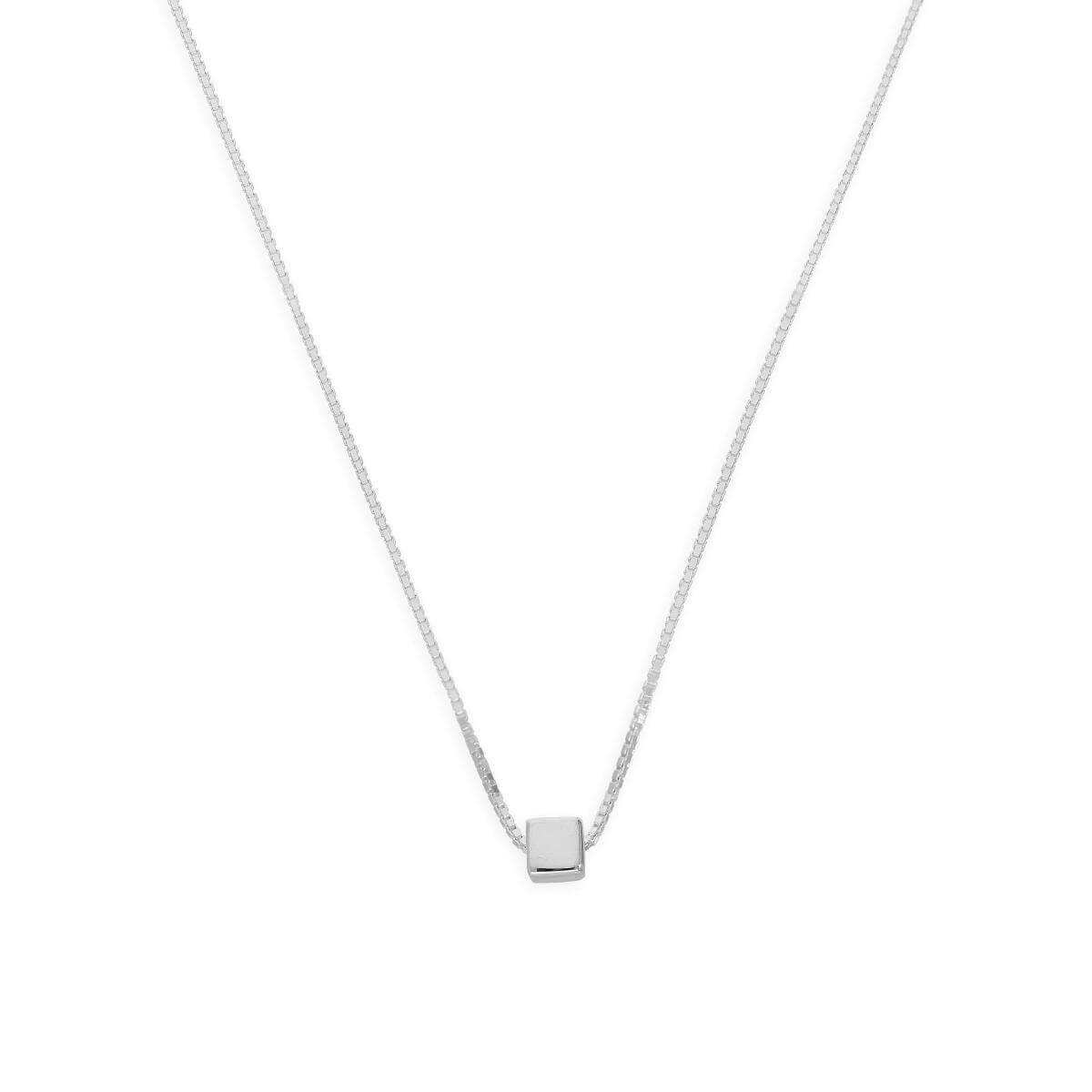 Sterling Silver 18 Inch Box Chain Necklace w Cube Bead