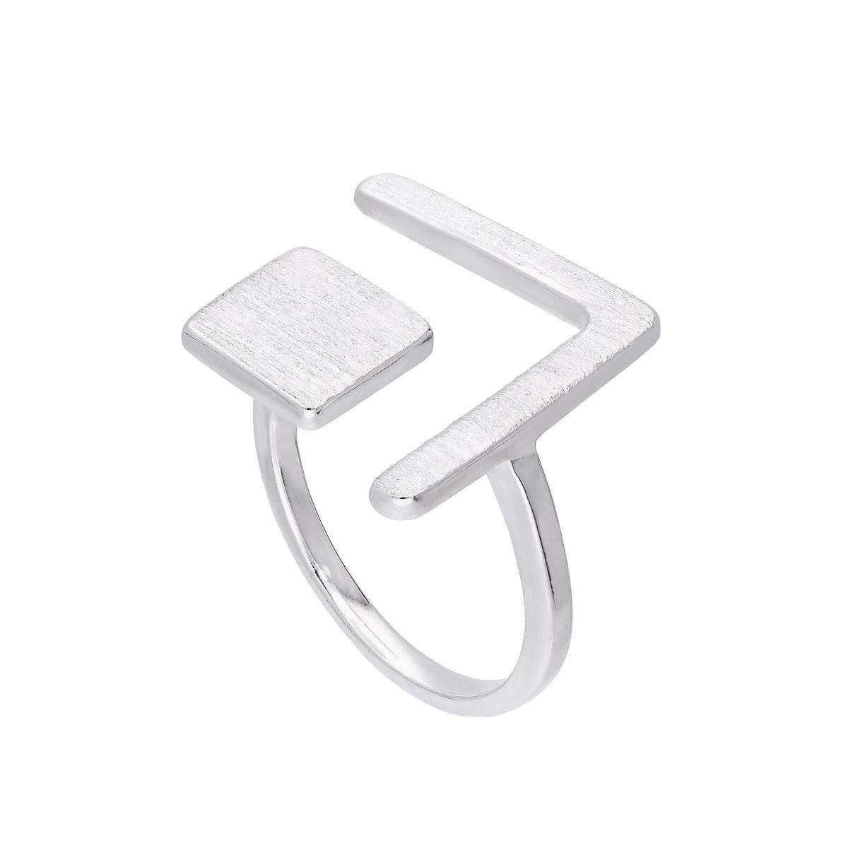 Sterling Silver Square & Chevron Adjustable Midi Ring