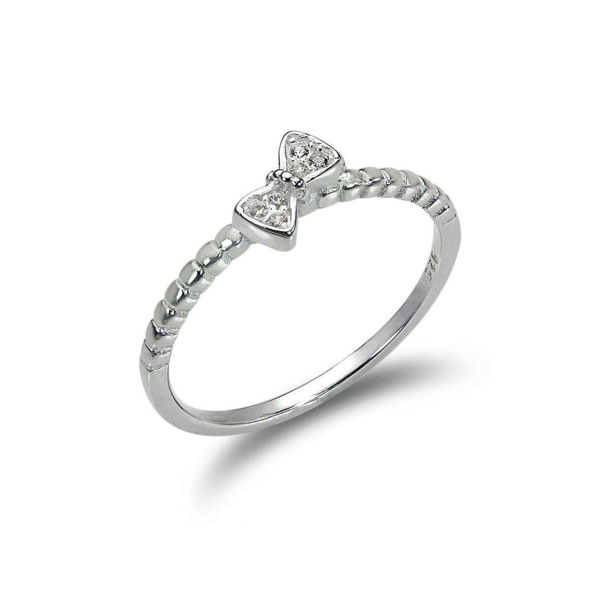Sterling Silver 1mm Ring with CZ Crystal Bow - UK Size J -V