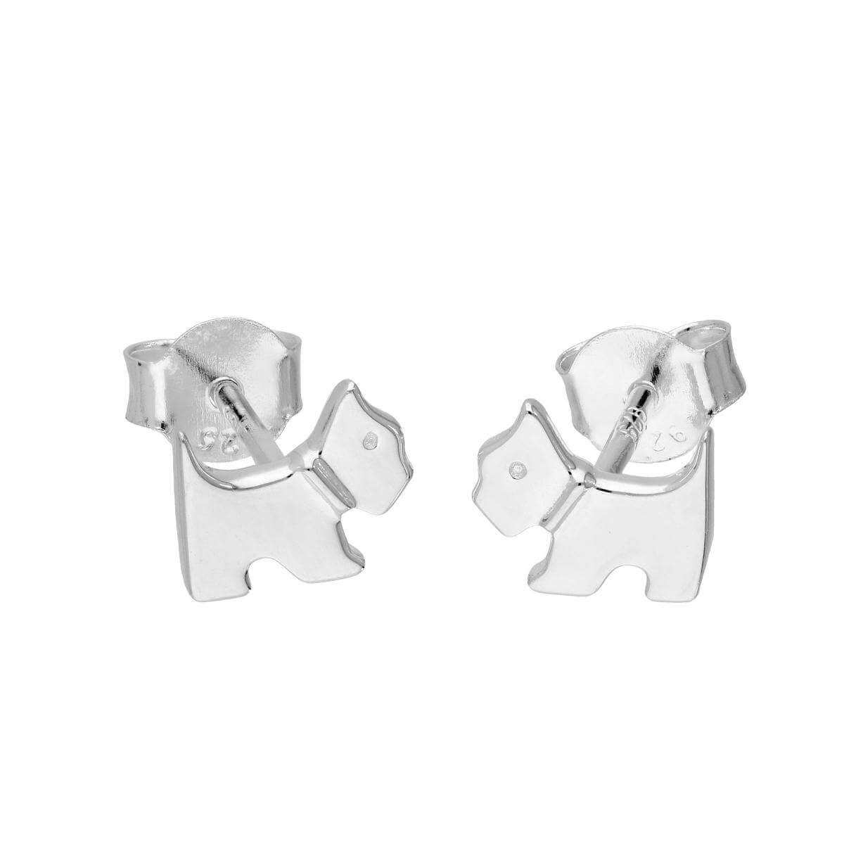Sterling Silver Little Scottie Dog Stud Earrings