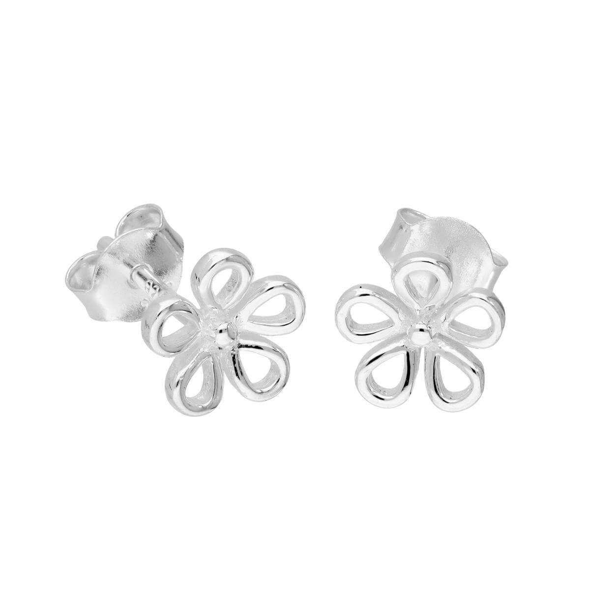 Sterling Silver Cut Out Flower Stud Earrings