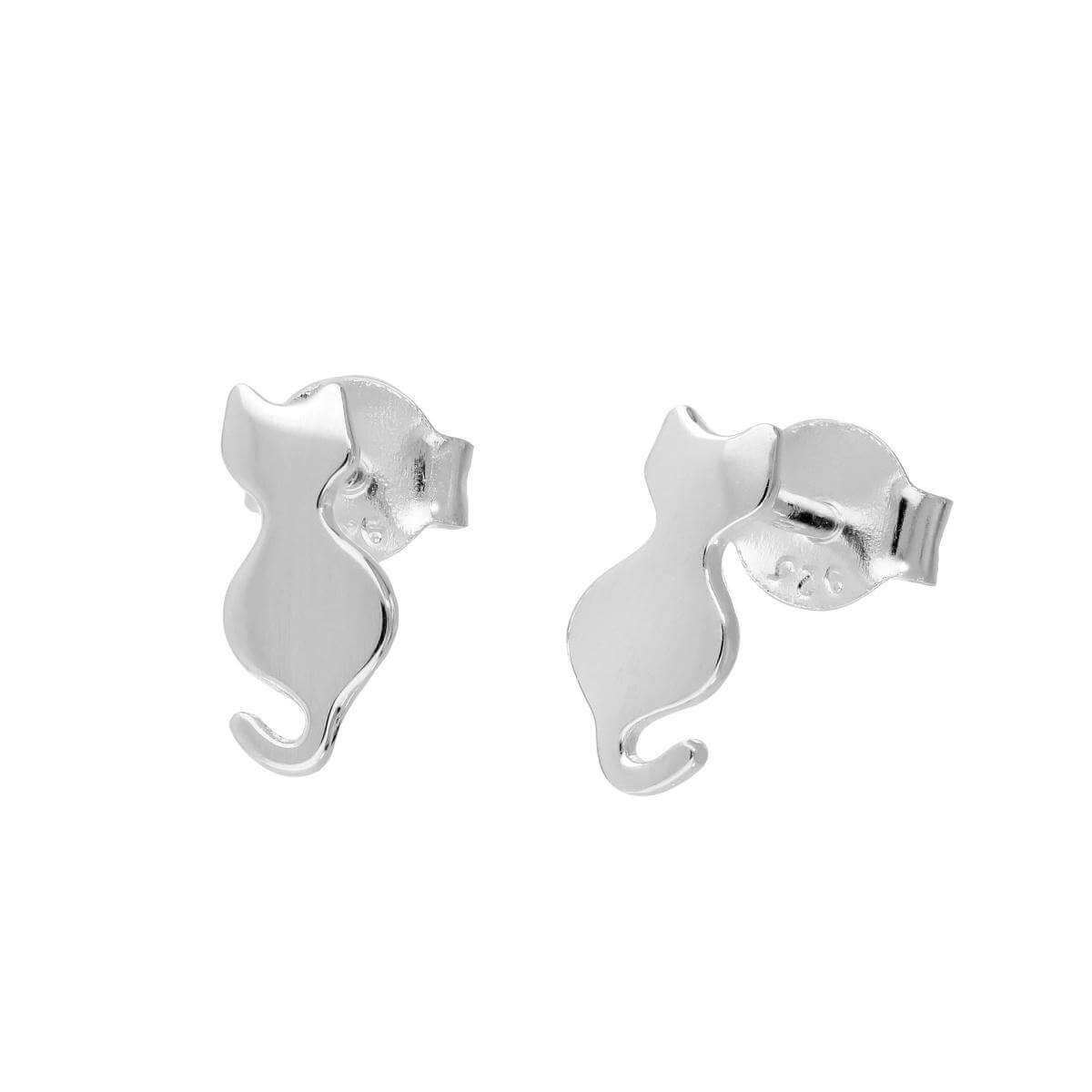 Sterling Silver Cat Silhouette Stud Earrings