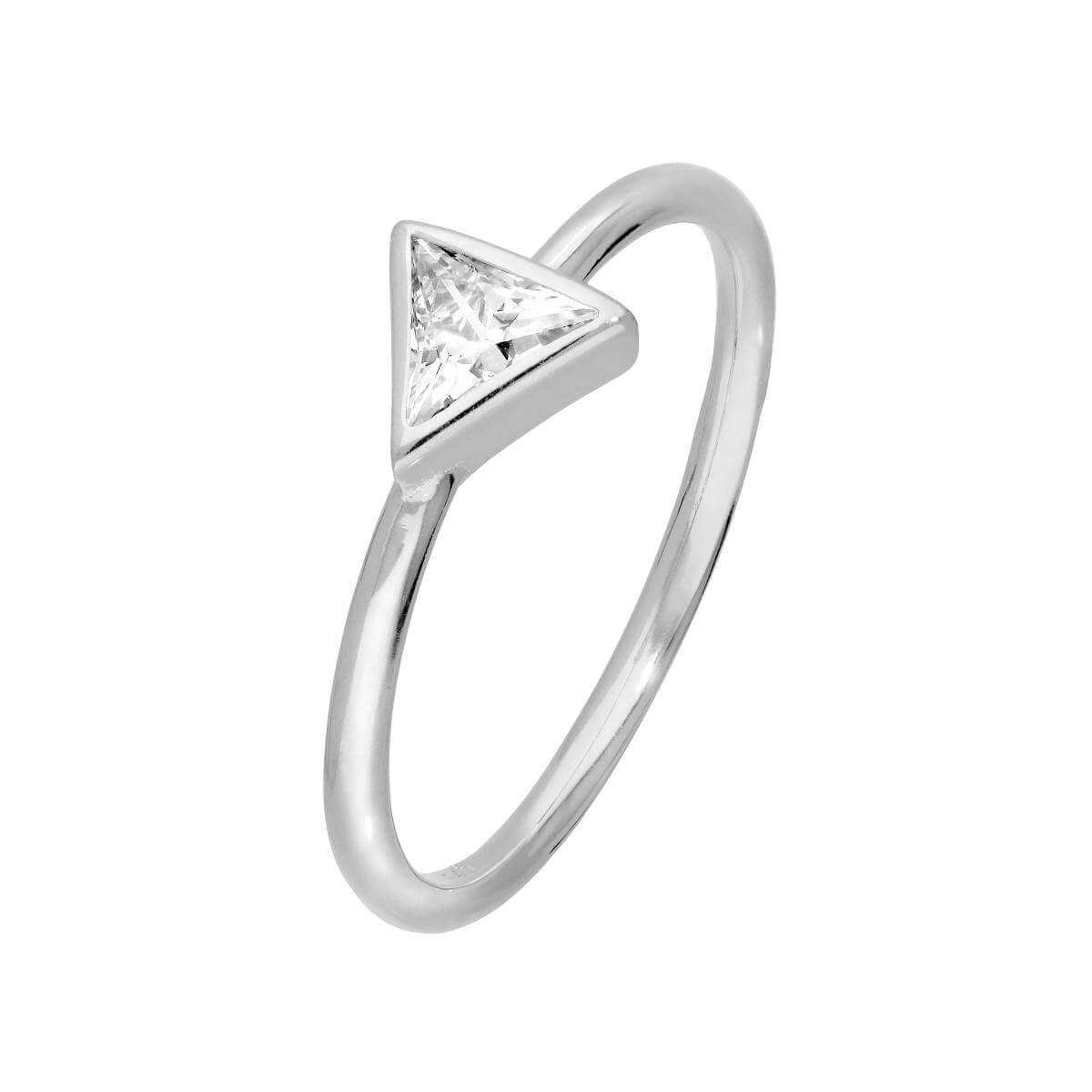 Sterling Silver & Clear CZ Crystal Triangle Ring Size J - W