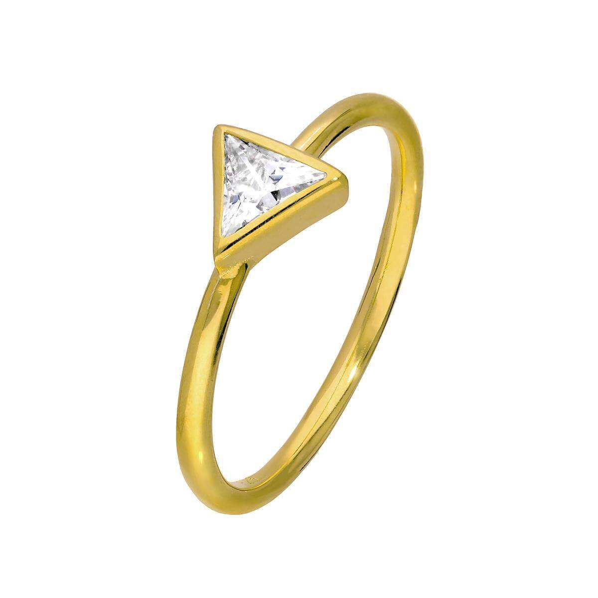 Gold Plated Sterling Silver & CZ Crystal Triangle Ring Size J - W