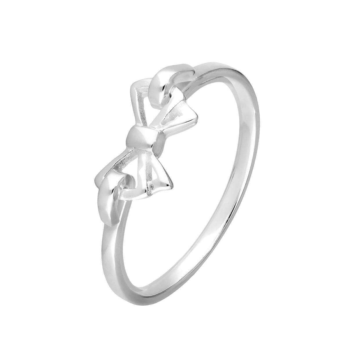 Sterling Silver Ribbon Bow Ring Size J - W