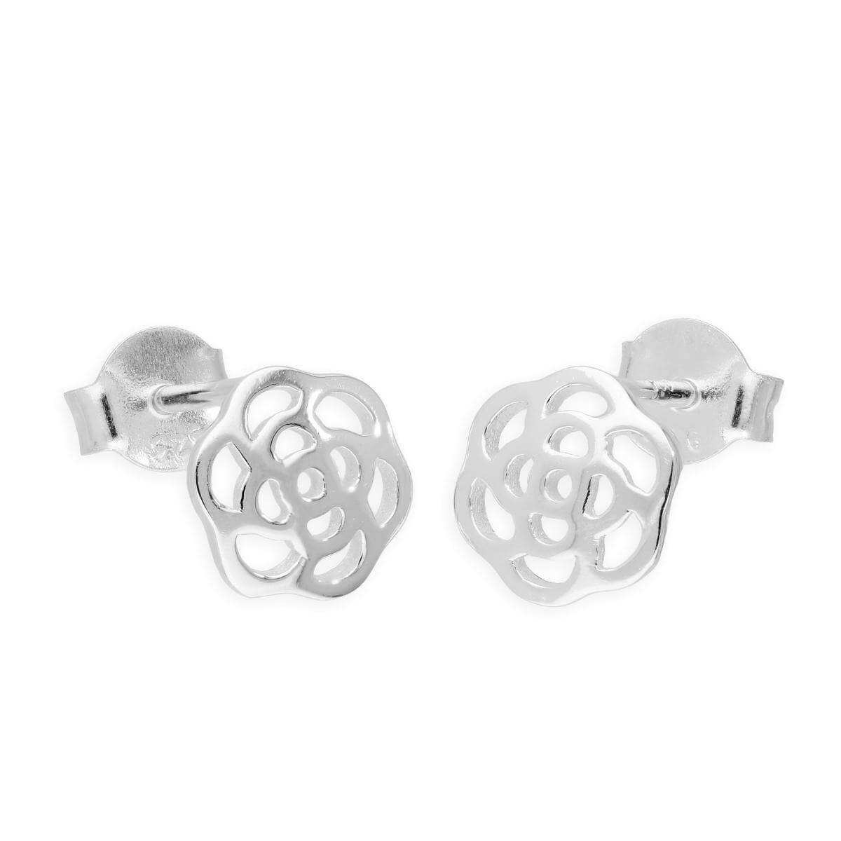 Sterling Silver Cut Out Rose Stud Earrings