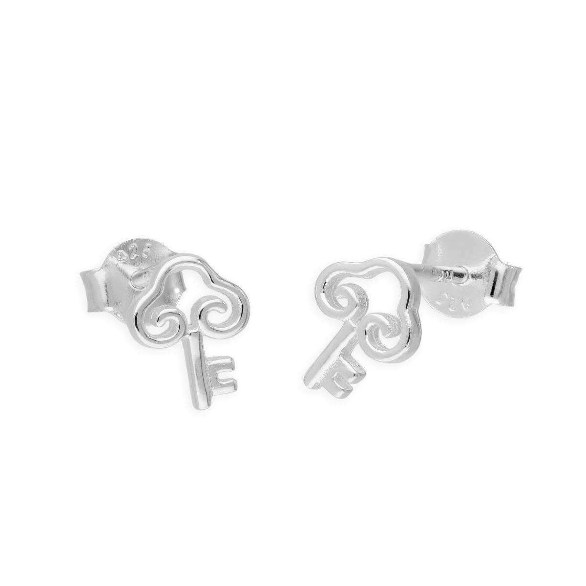 Sterling Silver Fancy Key Stud Earrings