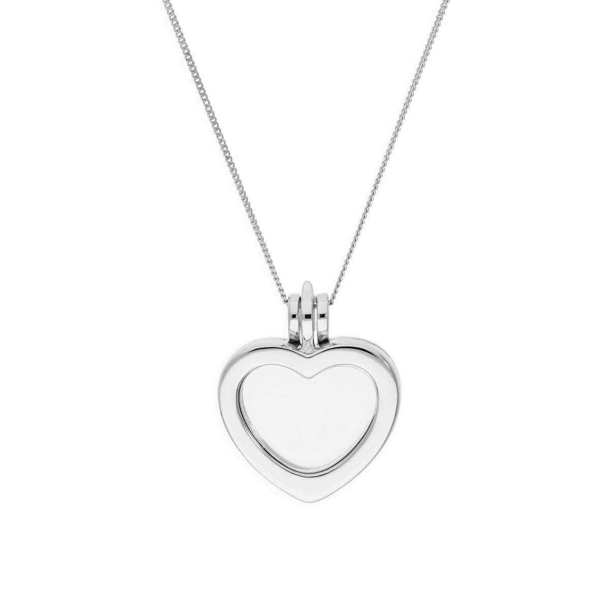 Small Sterling Silver Heart Floating Charm Locket on Chain 16 - 22 Inches