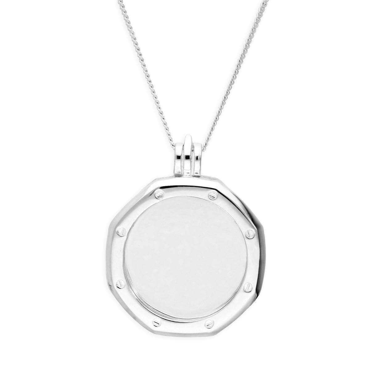 Large Sterling Silver Octagonal Clock Face Floating Charm Locket on Chain 16 - 24 Inches