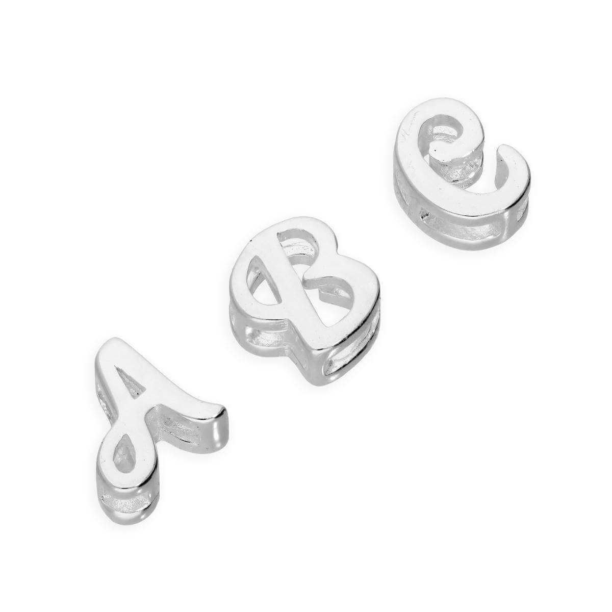 Sterling Silver Floating Fancy Calligraphy Script Letter Charms A - Z