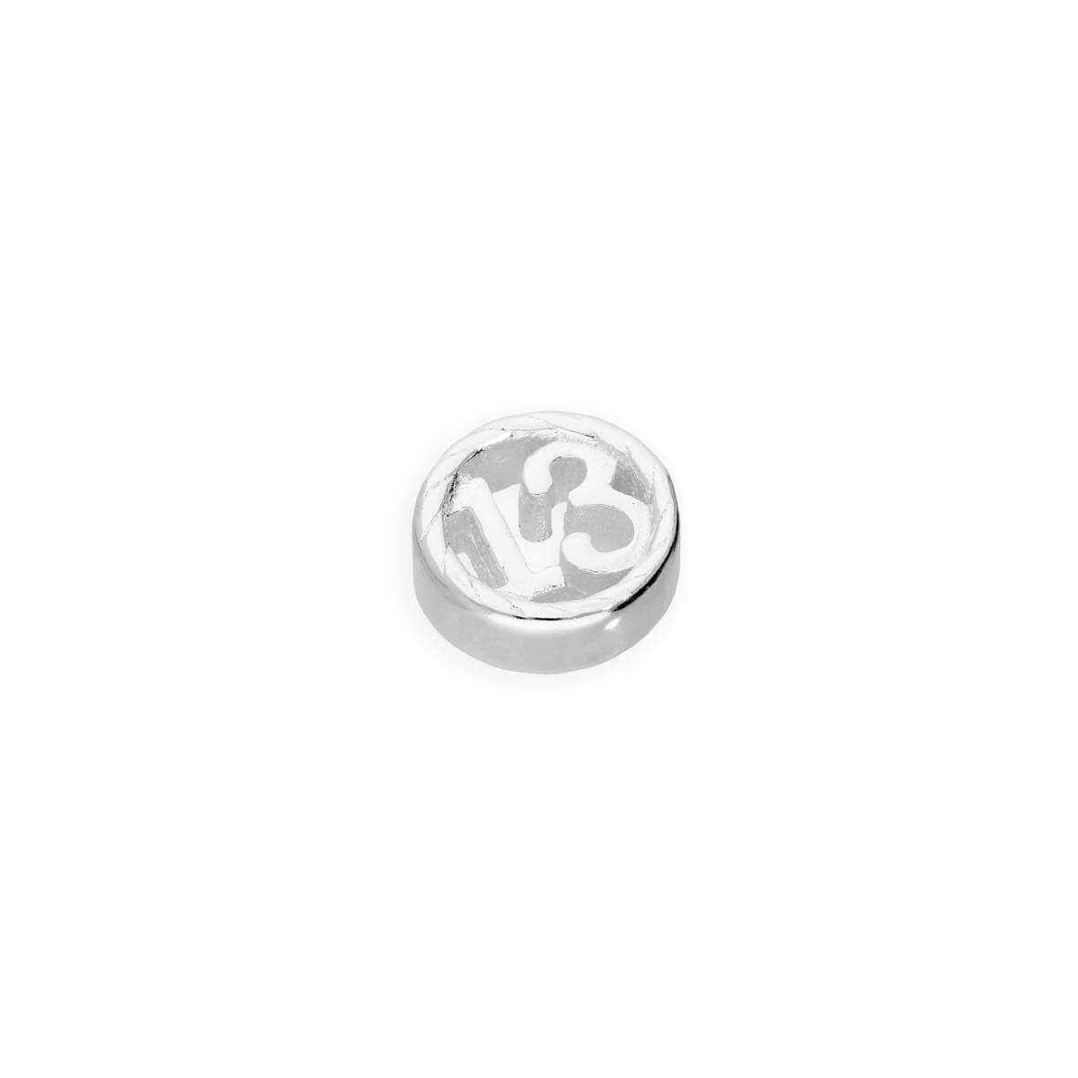 Sterling Silver Floating 13th Birthday Number Charm