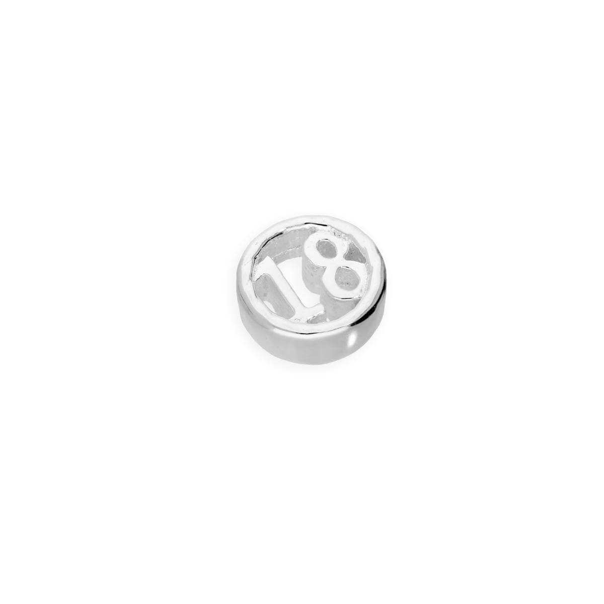 Sterling Silver Floating 18th Birthday Number Charm