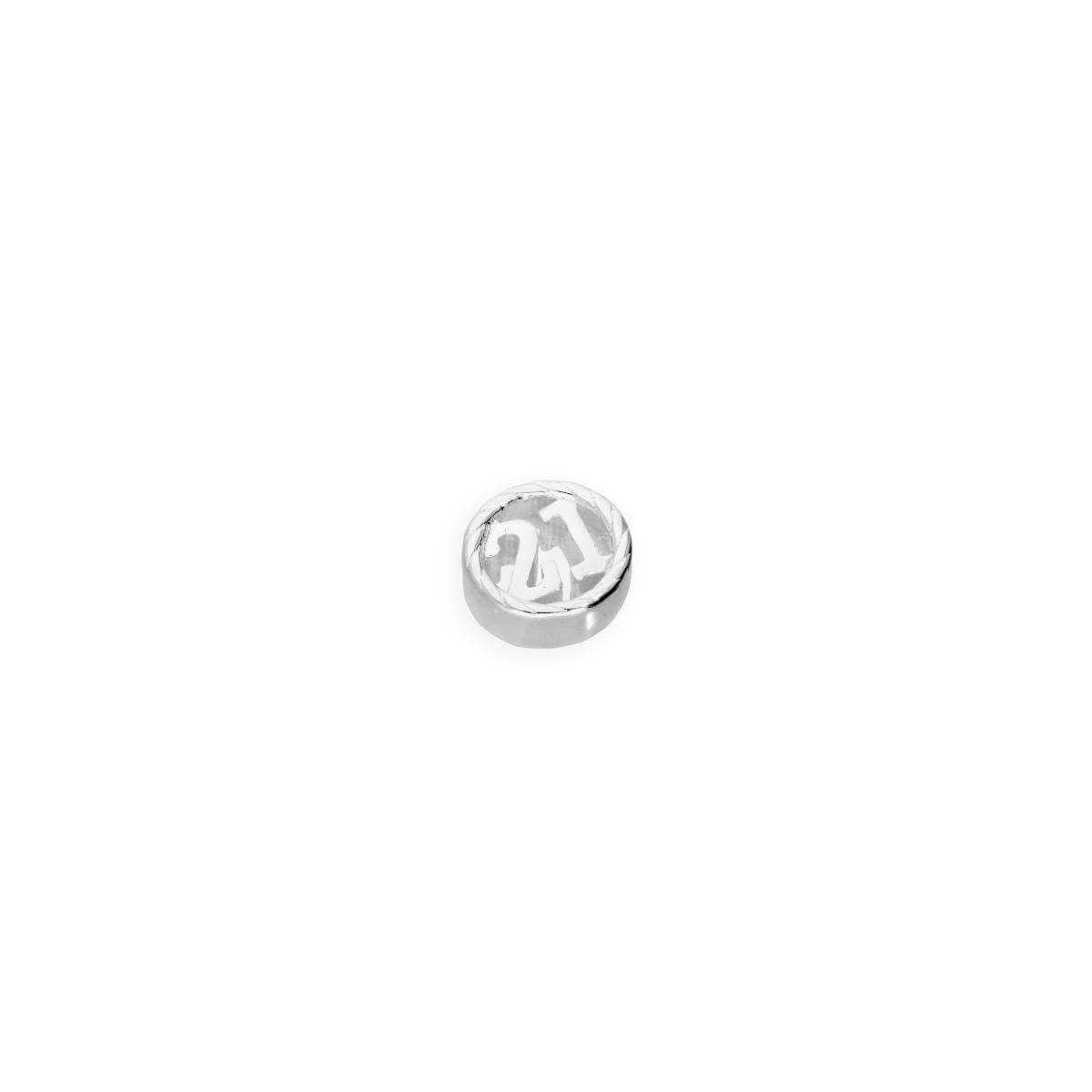 Sterling Silver Floating 21st Birthday Number Charm
