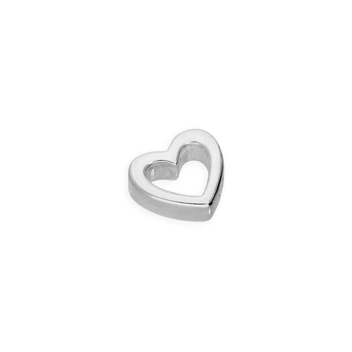 Sterling Silver Floating Heart Outline Charm