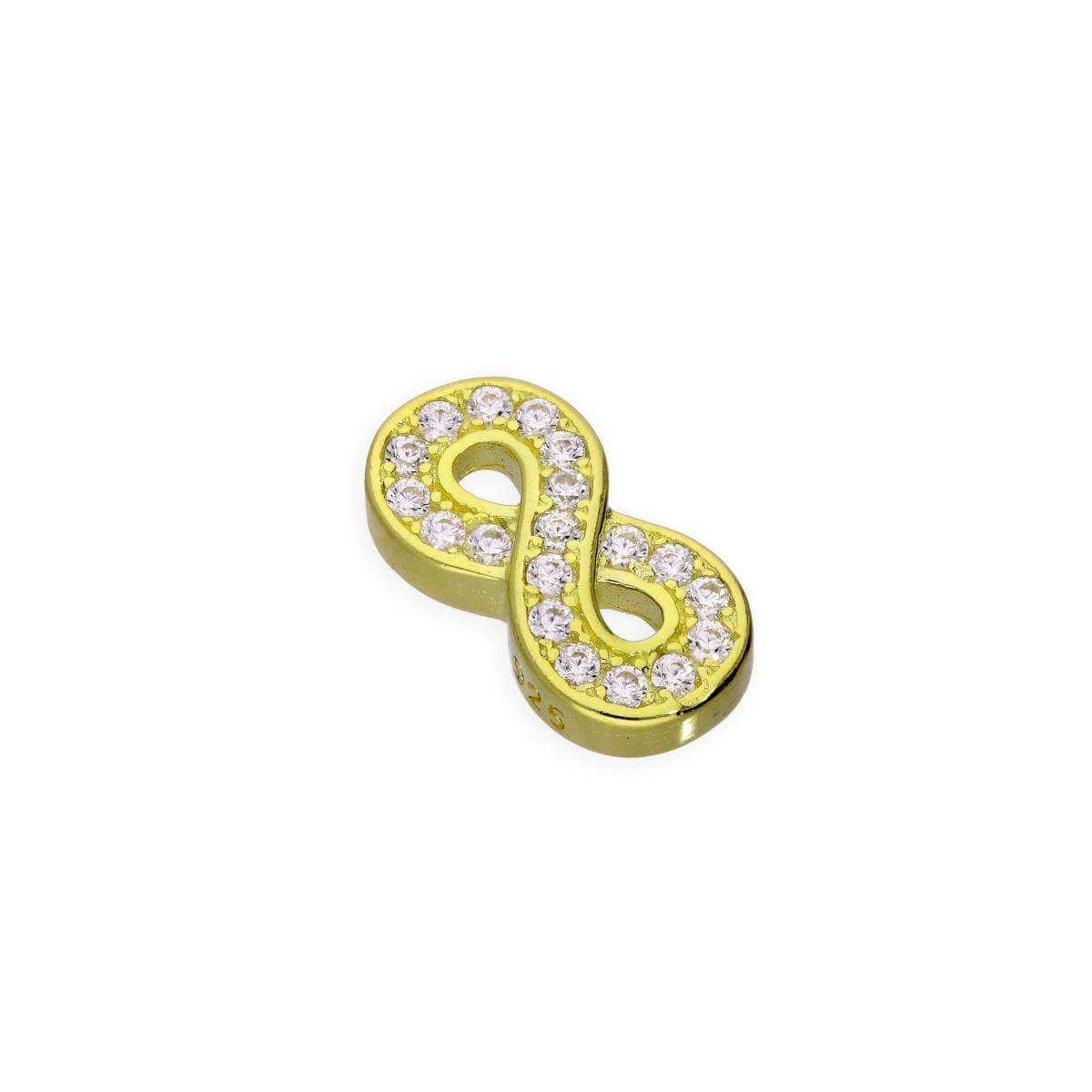 Gold Plated Sterling Silver & Clear CZ Crystal Floating Infinity Charm