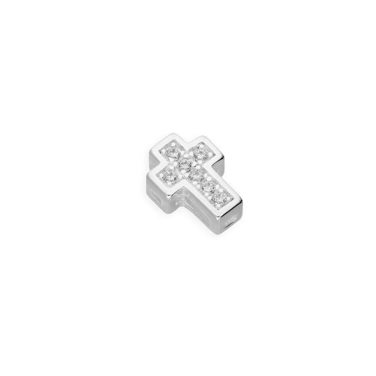 Sterling Silver & Clear CZ Crystal Floating Cross Charm