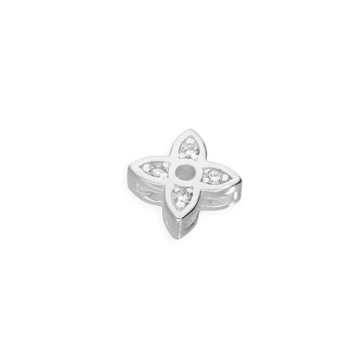 Sterling Silver & Clear CZ Crystal Floating Flower Charm