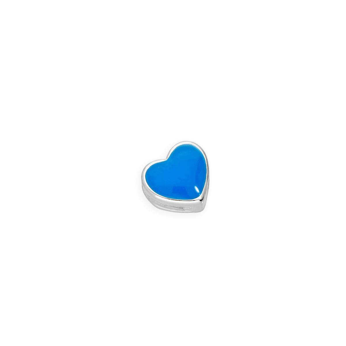 Sterling Silver & Blue Enamel Floating Heart Charm