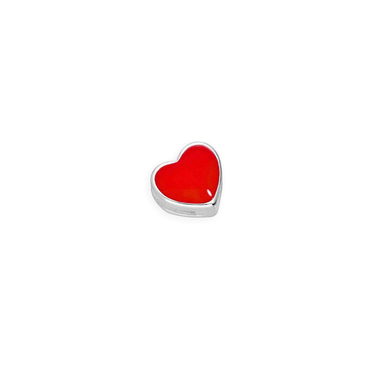 Sterling Silver & Red Enamel Floating Heart Charm