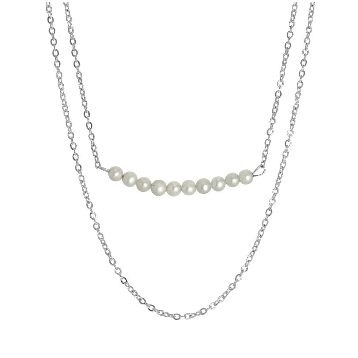 Sterling Silver Double Chain String of Pearls Necklace 15 & 18 Inches