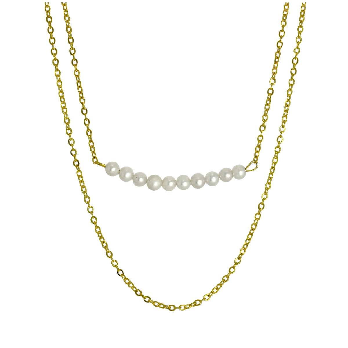 Gold Plated Sterling Silver Double Chain String of Pearls Necklace 15 & 18 Inches