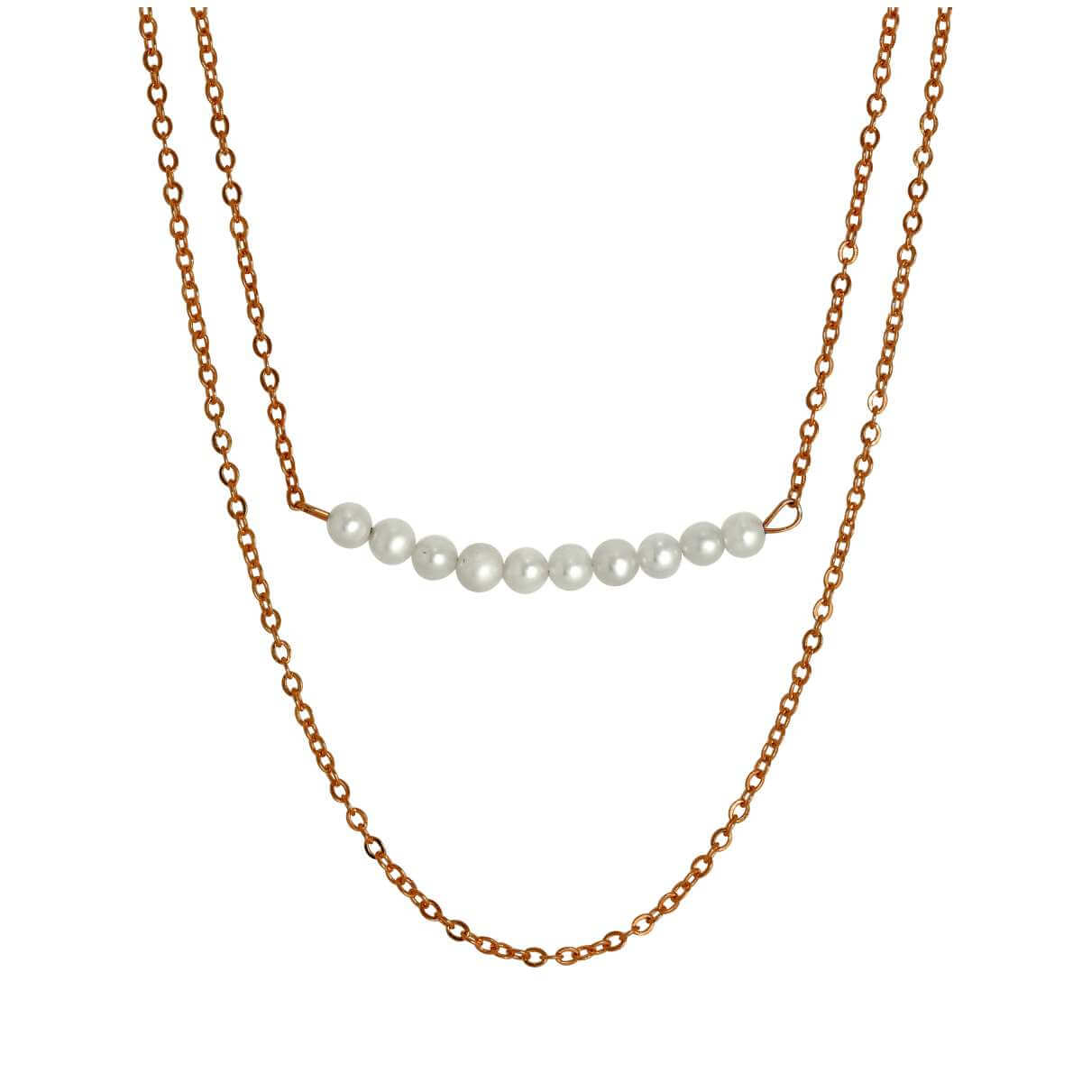 Rose Gold Dipped Sterling Silver Double Chain String of Pearls Necklace 15 & 18 Inches
