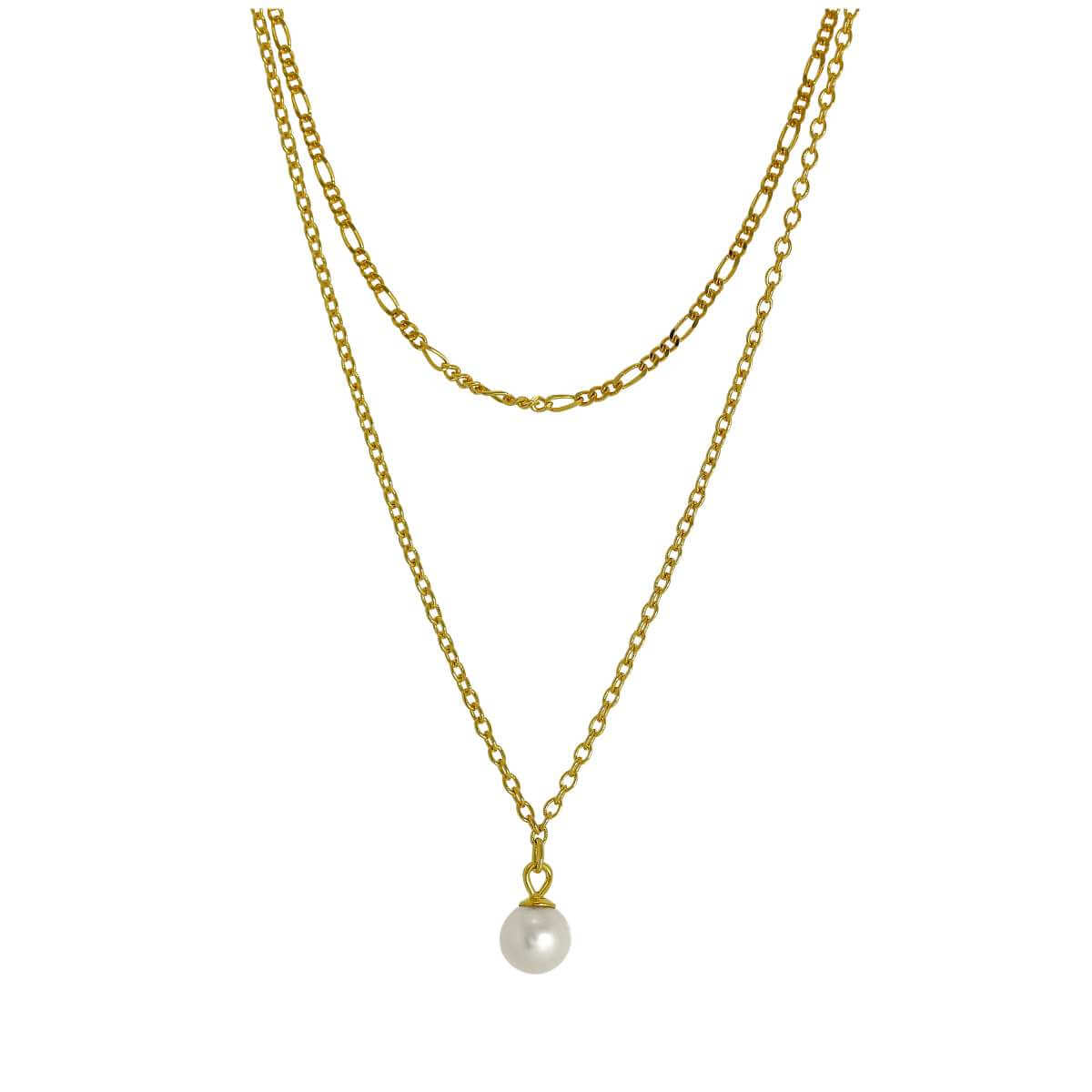 Gold Plated Sterling Silver Double Chain Pearl Necklace 16 & 18 Inches