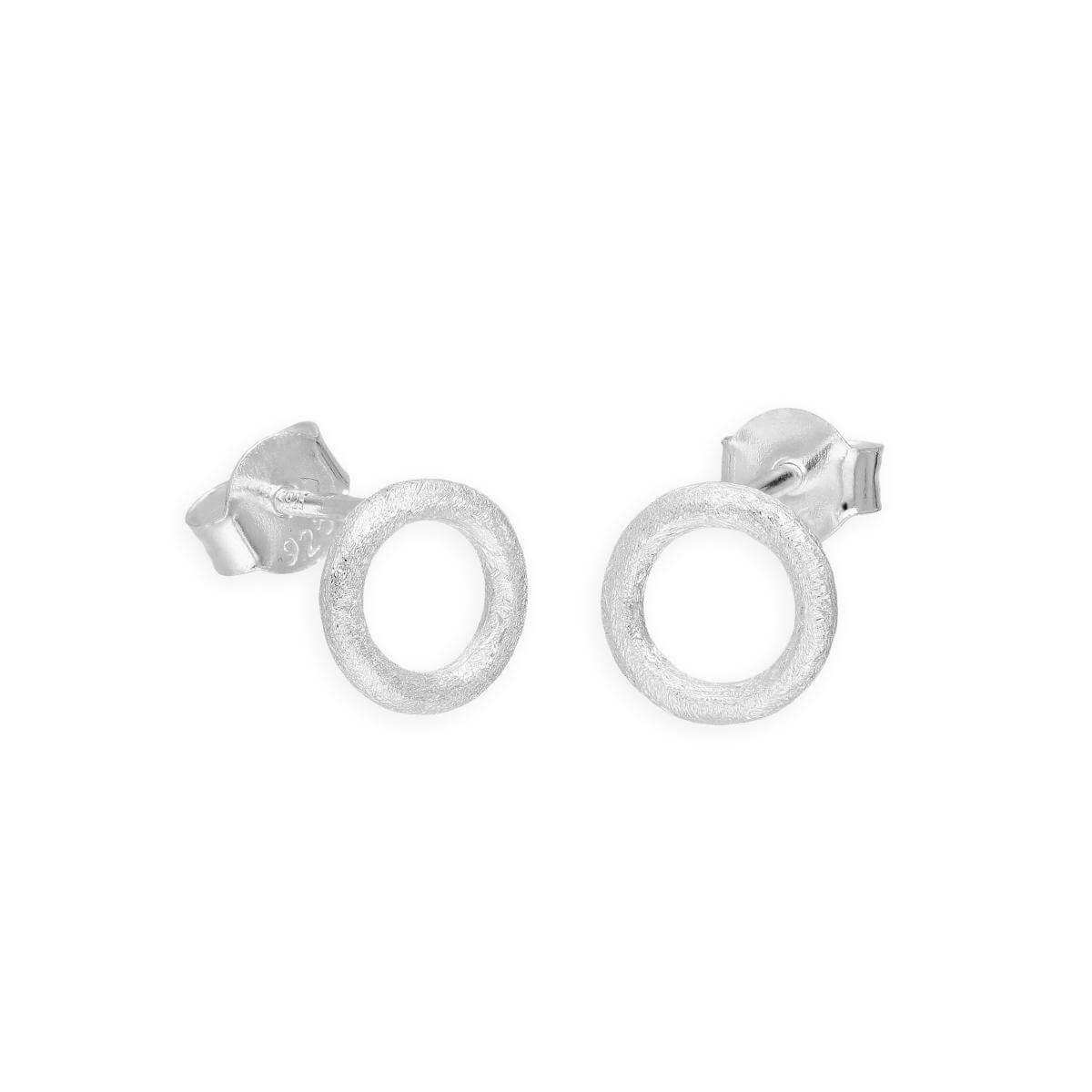 Brushed Sterling Silver Karma Ring Stud Earrings