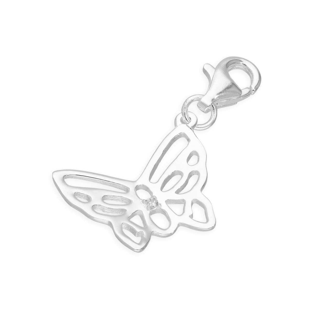Sterling Silver & Genuine Diamond Open Butterfly Charm